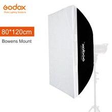 """Godox 80x120cm 31.5 """"x 47"""", speedlite, estúdio, estroboscópico, flash fotográfico, refletor de softbox para bowens suporte de montagem"""