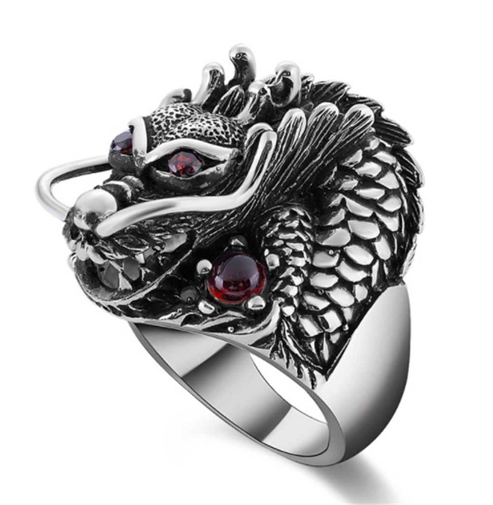 Male Metal Silver Red Zircon Dragon Couple Biker Rings Punk Skull Jewelry For Men Punk Rock Style Red Stone Dragon Head Rings