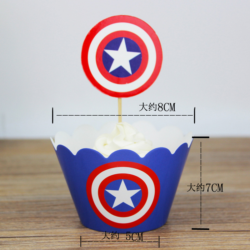 24pcs The Avengers Captain America Card Toppers Decoration Card