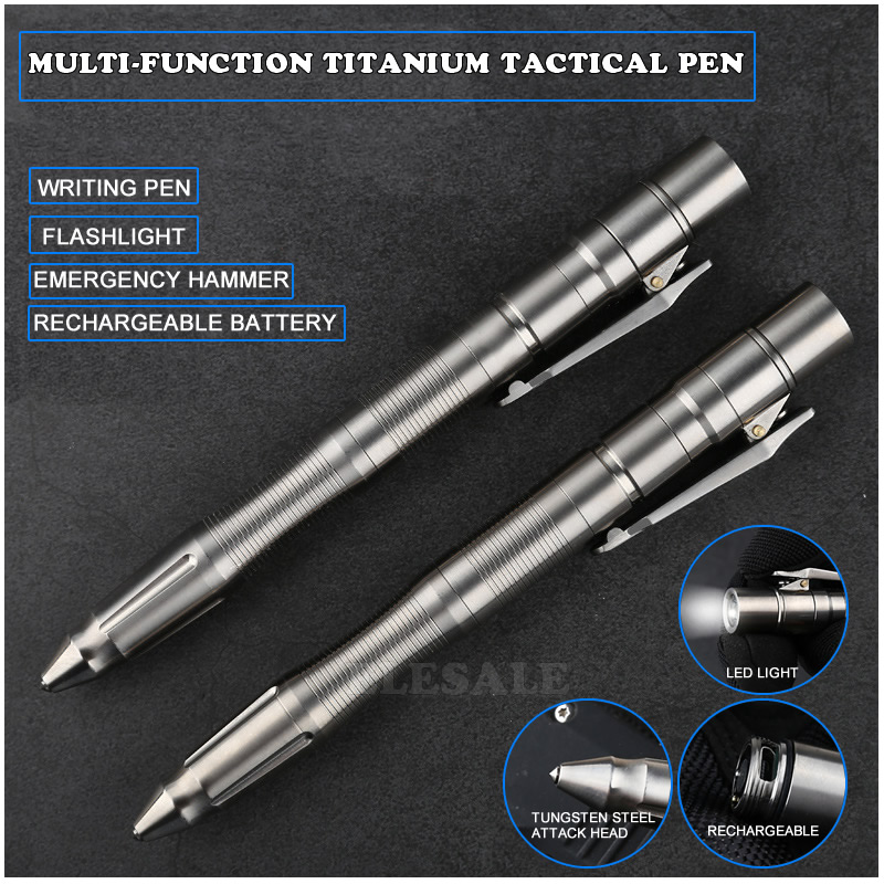 3 IN 1 Titanium Tactical Pen Rechargeable Flashlight Self Defense Emergency Window Hammer Outdoor Survival EDC Tool Gift