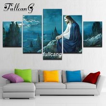 FULLCANG Diy 5PCS Full Square Diamond Embroidery Jesus Garden Scenery Diamond Painting Cross Stitch 5D Mosaic Kits D945 fullcang beauty full square diamond embroidery 5pcs diy diamond painting cross stitch mosaic kits g591