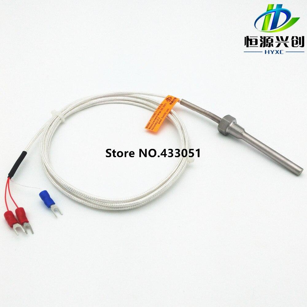 RTD Pt100 Sensor de temperatura Sonda L 5 cm 1//2NPT Rosca 3 cables Cable de 2M