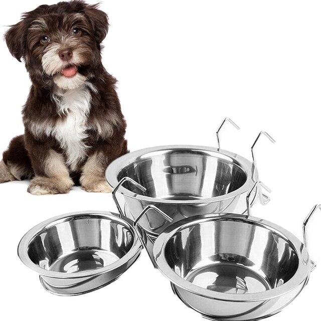 2019 Pet Acero inoxidable cuenco colgante cuenco de Metal para perro conejo pájaro cachorro comida jaula de agua soporte de abrazadera alimento para perros