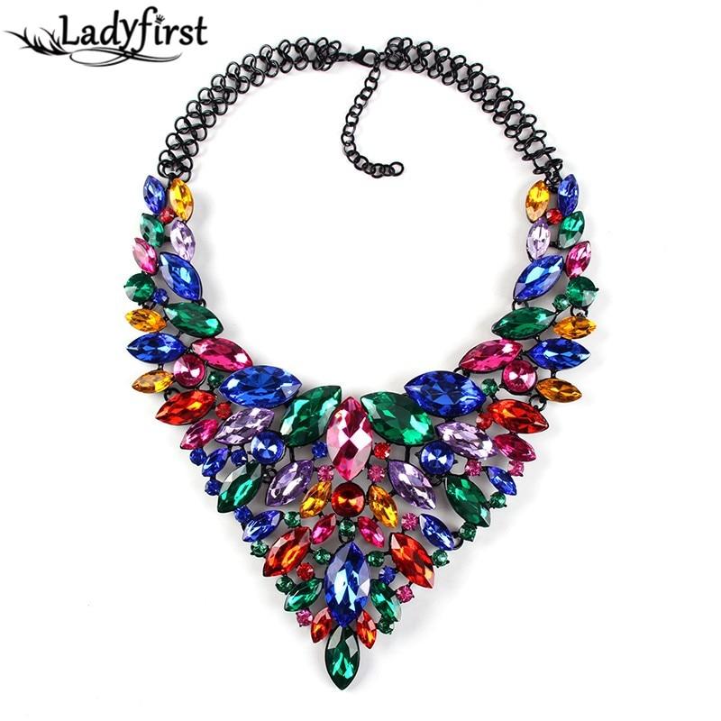 2016 Color Full Hot Crystal Gem Luxury Bridal V Shaped Rhinestone Wedding Maxi Statement Necklace Collar