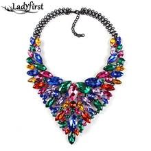 2016 Color Cristal Gema de Lujo Nupcial En Forma de V de Boda Rhinestone Caliente Completo Maxi Collar Collar Llamativo Collar y Pendants0120