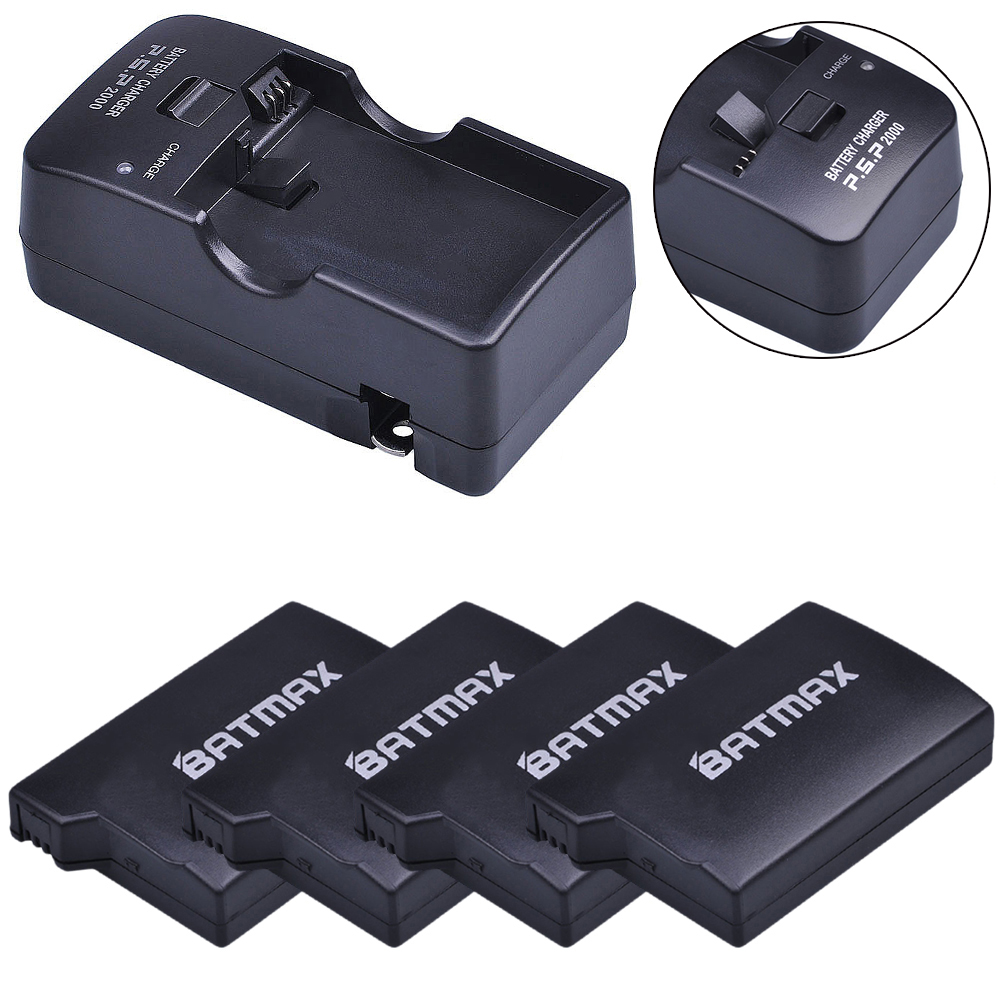 For 4Pc PSP 1000 PSP 1000 Battery 3.6V 3600mAh Batteries Accu + Charger Kits for PSP 1000 Playstation Sony PSP1000 Battery