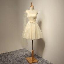 2017 Ein-schulter Kurze Brautkleider A-linie Elegante Mini Bogen Ctystal Organza Abendkleider Brautjungfer Kleid Vestido de Festa