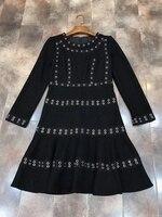 2017 moda yeni kadın kendini yetiştirme kişilik delikli dekoratif geri fermuar elbise 101