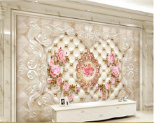 3d wallpaper background HD European Soft Case Pattern flower TV wall murals flooring behang beibehang