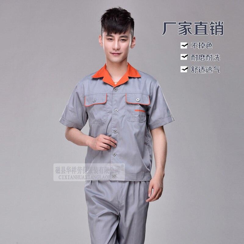 S-4XL! 2018 защитная одежда комплект с короткими рукавами износостойкие мужской женский с коротким рукавом рабочая одежда высокого качества дл...