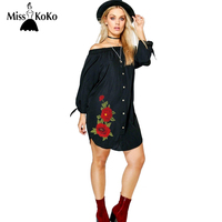 MissKoKo 2017 Big Size Women Clothing Sexy Solid Embroidery Summer Dress Slash Neck Flare Sleeve Split