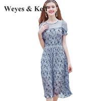 Weyes Kelf Ladies Print Floral Woman Dress Chiffon Robe Femme Ete 2018 Blue Flim Boho Style