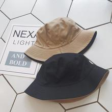 New Unisex Double Side Bucket Hats Simple Style Comfortable Cotton Fisherman Hat Sun Protection Summer Beach Panama Caps