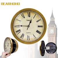 Golden Clock Hidden Safes Wall Cash Jewelry Watchs Storage Box Safe Clock Strore Your Valuables Away