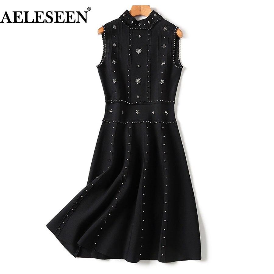 Luxury Beading Black Women Knit Dress 2018 Summer Runway  Fashion Sleeveless  Sexy Turtleneck Gothic Blackless Dress Women