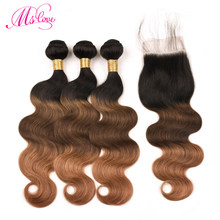 Ms Love Tb 4 30 Three Tone Ombre Brown Blonde Brazilian Body Wave Hair Bundles With Closure 4*4 Remy Human Hair With Closure(China)