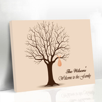 Framed Wedding Guest Book Fingerprint Tree Family Reunions Keepsake Customized GIFTS Name & Date Canvas Printing Supplies