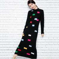 Autumn winter half high collar wool sweater dress patchwork color knitted sweater woolen jacquard printed dress plus size 2XL!
