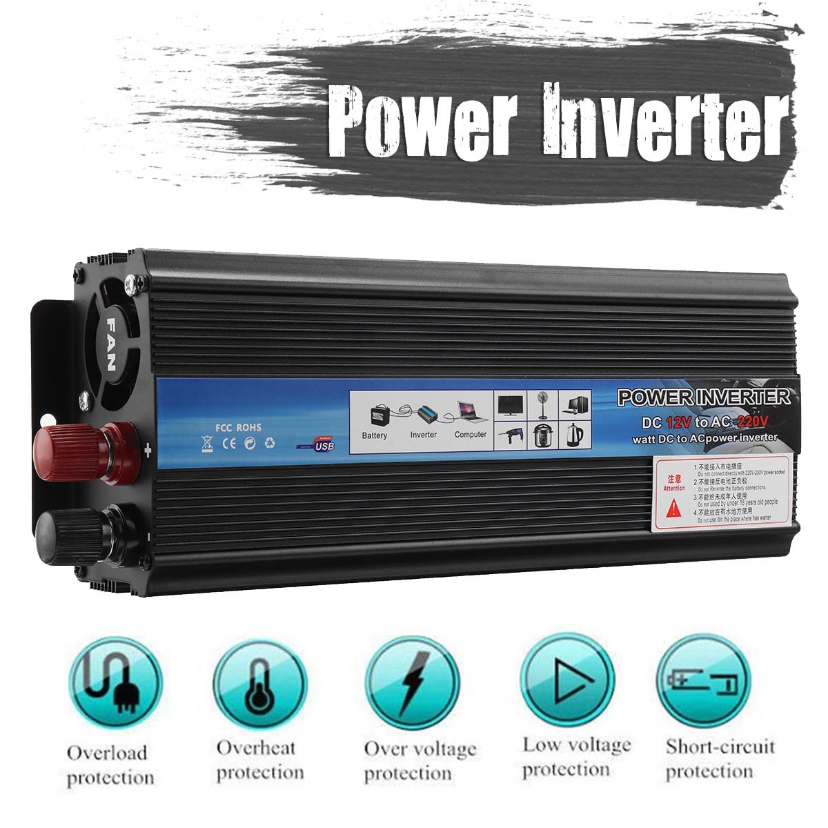 Car Power Inverter 3000W/5000W Sine Wave Converter 12/24V 220V DC-AC Solar Inverter Volts Transformer Adapter Charger