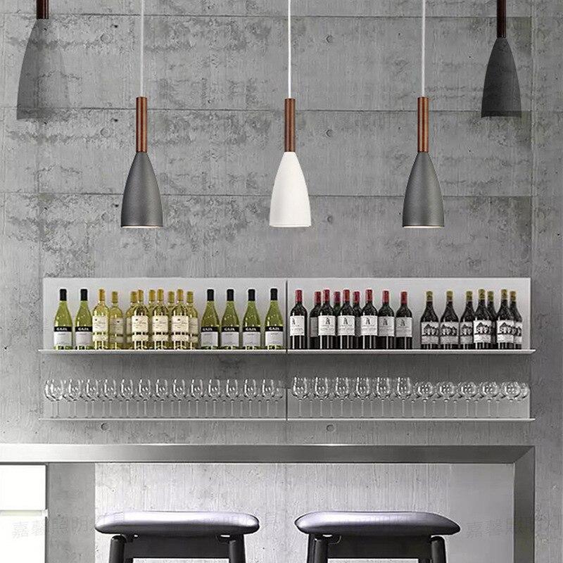 Nordic Postmodern art pendant lamp Bar counter restaurant coffee shop clothing store living room wood E27 Lamp Free Shipping
