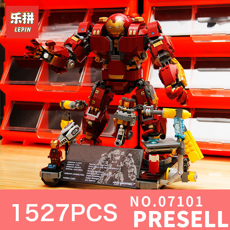 Lepin 07101 1527Pcs Super Classic Hero Iron Man Anti Hulk Mech Toy Building Bricks Blocks toys Model Compatible 76105 for boys compatible with lego marvel lepin 38005 328pcs super heroes movie iron man ironman mech building blocks bricks toys for children