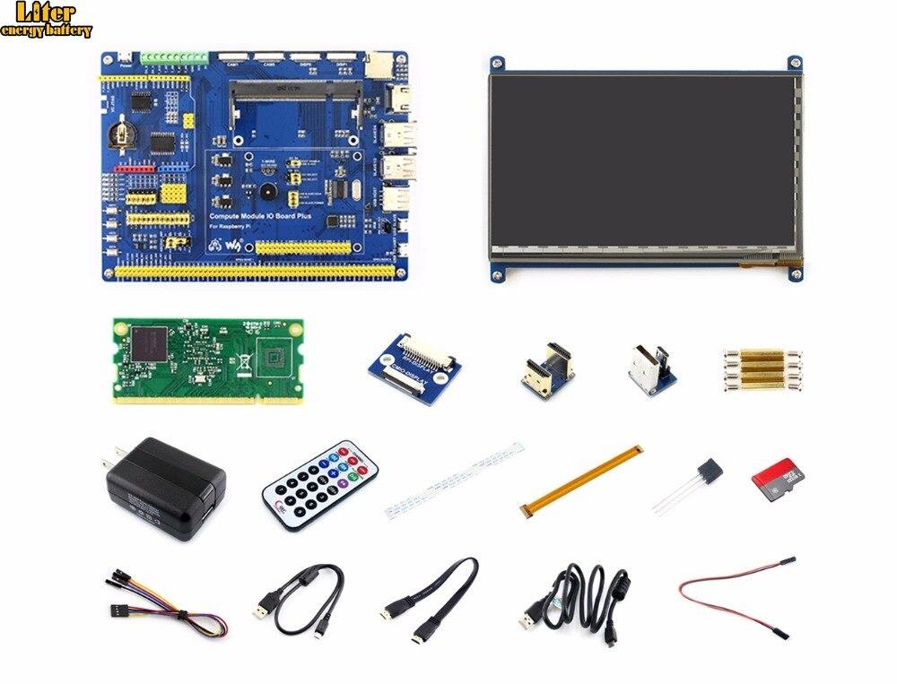 Module de calcul Raspberry Pi Kit de développement 3 Lite Type B avec Module de calcul 3 Lite 7 pouces HDMI LCD, adaptateur secteur carte Micro SD