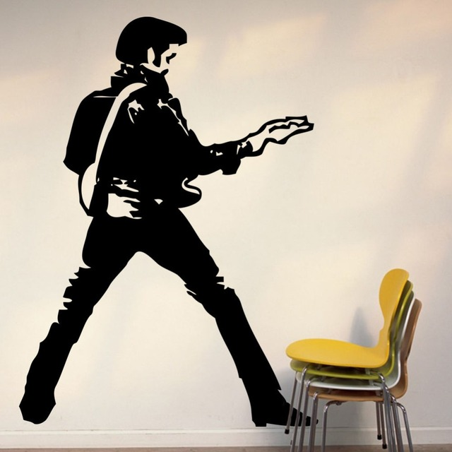 High Quality Art Vinyl Sticker Large Elvis Presley Guitar Music Icon Wall Decoration Decor