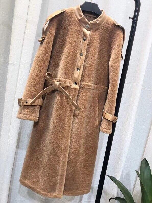 Face Hiver Chaud White Femmes De Double Manteaux Manteau beige Et Épais Fourrure camel Khaki Femme Réel Mouton Long Light p7qdwwF