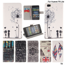 For Huawei P8 Lite Case,Fashion Funny Printing Flip Leather Wallet Cover Case For Huawei Ascend P8 Lite Phone Bags+ Card Slots