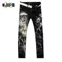 New 2016 Men S Printed Jeans Punk Style Gothic Painted Cotton Straight Leg Cool Jeans For
