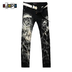 New 2016 men s printed jeans punk style gothic painted cotton straight leg cool jeans for.jpg 250x250
