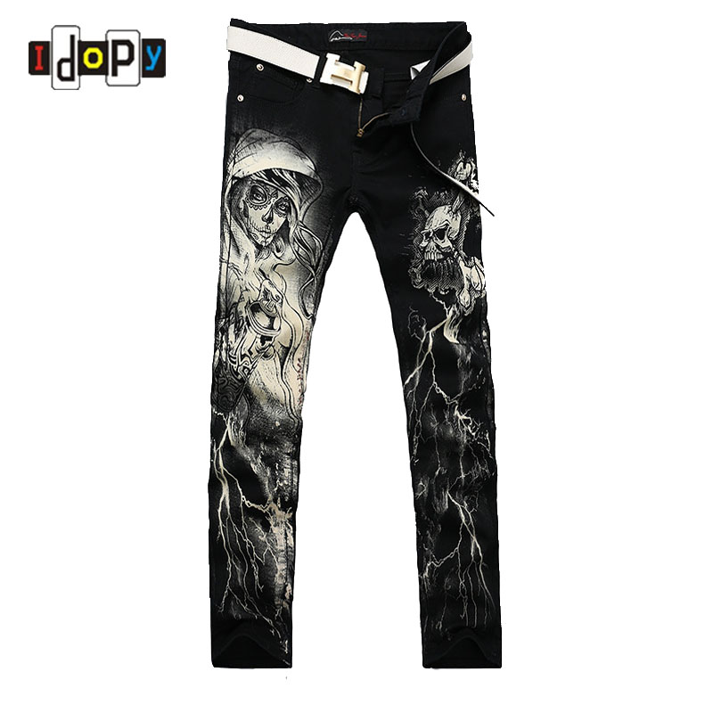 New 2018 Men`s Printed   Jeans   Punk Style Gothic Painted Cotton Straight Leg Cool   Jeans   For Young Men