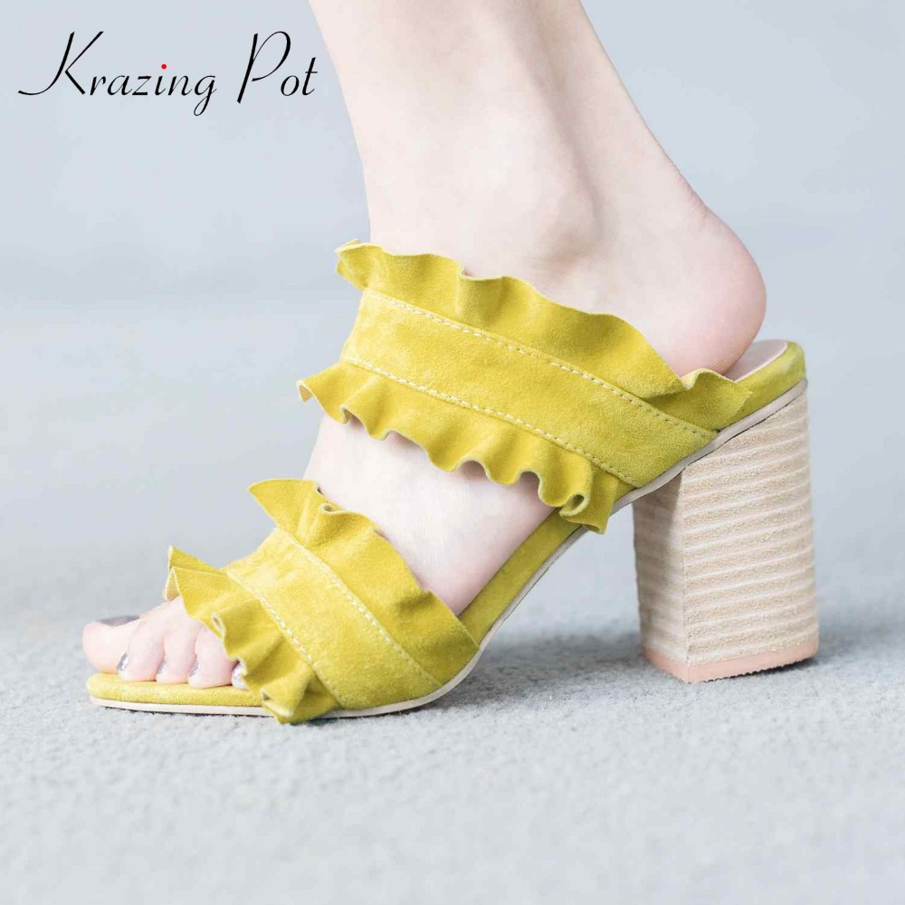 Krazing Pot 2018 new arrival sheep suede open toe lacework flowers sweet sandals preppy style thick high heels fairy mules L60