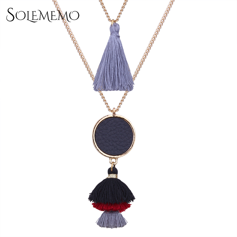 Solememo Ethnic Leather Round Pendant Necklaces Long Tassel Chain Boho Necklaces For Wom ...