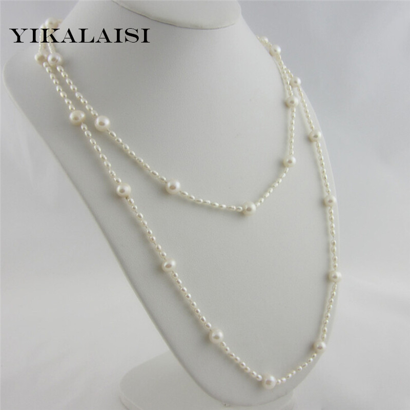 YIKALAISI Long Multilayer Pearl Necklace Freshwater Pearl Size Interval Women Accessories Statement Necklace Jewelry For WomenYIKALAISI Long Multilayer Pearl Necklace Freshwater Pearl Size Interval Women Accessories Statement Necklace Jewelry For Women