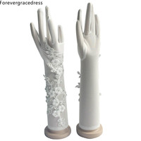 Forevergracedress Romantic White Ivory Bridal Gloves For Wedding Bride Cheap Lace Applique Accessories ST04