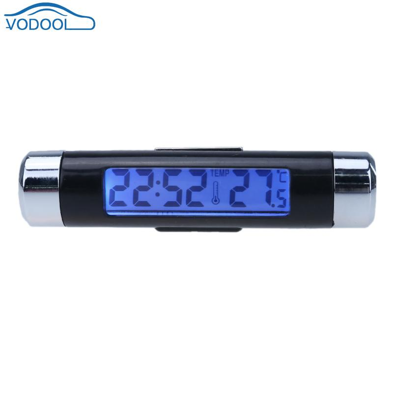2 in 1 Automobile Back Light Car Thermometer <font><b>Clock</b></font> Car Interior LCD Display <font><b>Clock</b></font> AC Vent <font><b>Suction</b></font> <font><b>Cup</b></font> Mount <font><b>Digital</b></font> Thermometer