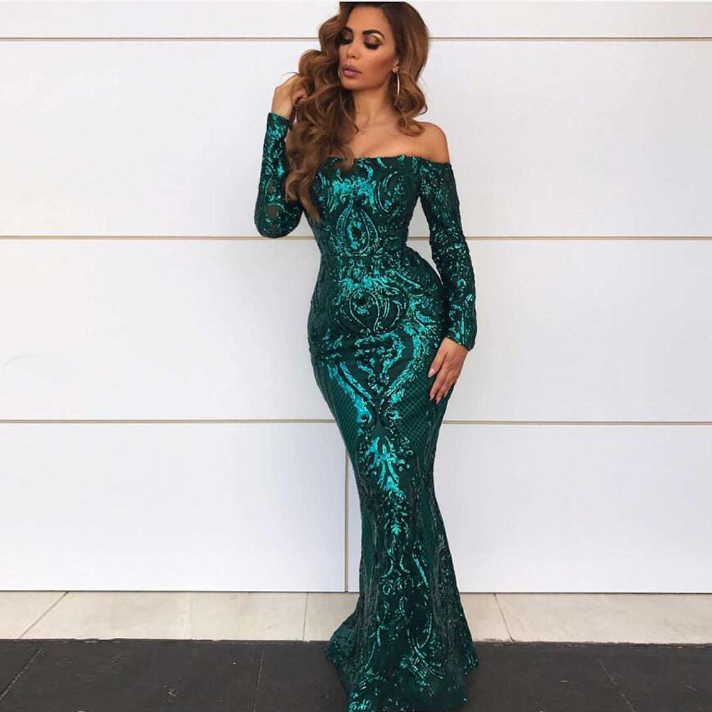 Stretchy Slash Neck Green Off The Shoulder Sequined Party Dresses Maxi Dress Full Sleeved Full Lining
