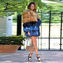 FURSARCAR Real Fox Fur For Women Warm Winter Customize Coat 100% Genuine Natural Patchwork Female Overcoat