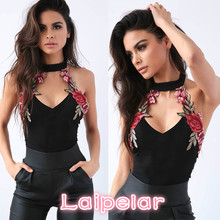 Sexy Bodysuits Women Floral Embroidered Lady Choker V-Neck Party Leotard Bodysuit Jumpsuits Tops Laipelar