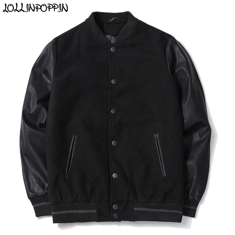 Men PU Leather Sleeve Woolen Baseball Jacket Stand Collar Mens Black Varsity Jackets Preppy Japan Style Male Outerwear Autumn