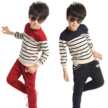 Children's clothing child spring stripe set 2016 male female child casual denim outerwear spring and autumn