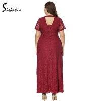 Siskakia rắn ren dress đảng phụ nữ cộng với kích thước vòng cổ ngắn tay áo Evening lễ hội mặc thanh lịch dresses trắng đỏ đen