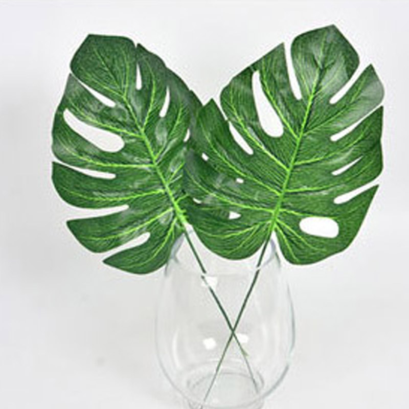 10pcs High Simulation green plant Artificial Tropical Plant Leaf flower Home garden Wedding Party Office Store DIY Decorations