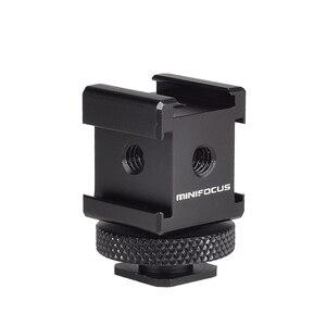 Image 2 - Adattatore cardanico triplo per montaggio su slitta fredda per luci, monitor a LED, microfoni, registratore Audio e videocamera con staffa Flash da Studio