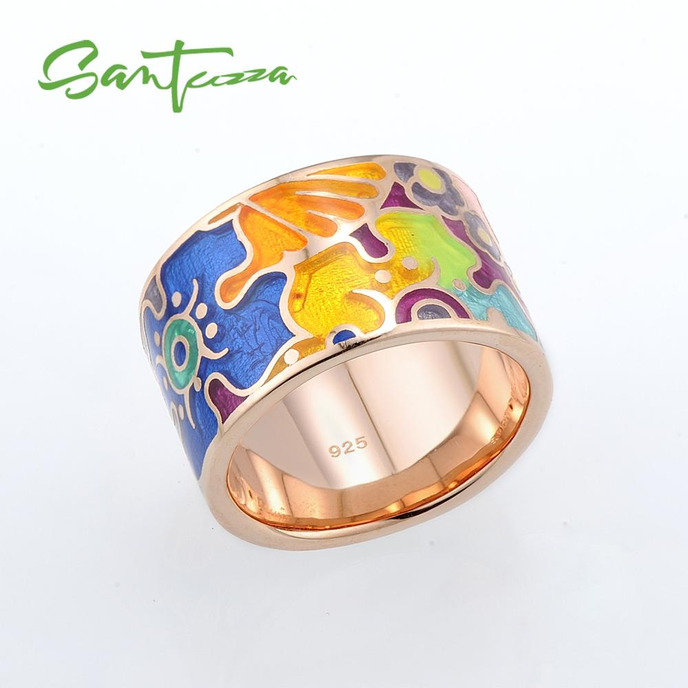 SANTUZZA Silver Rings For Women Colorful Enamel Pure 925 Sterling Silver Female Party Fashion