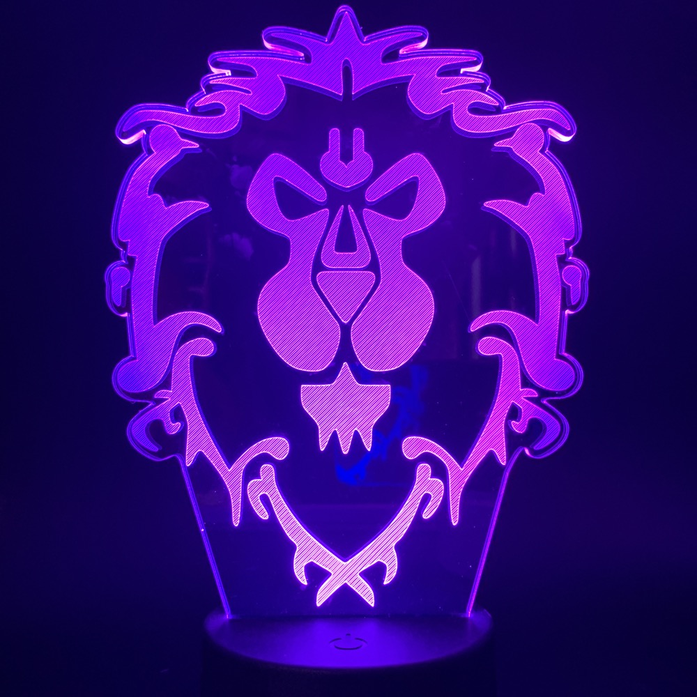 World of Warcraft 3D LED Lamp The Alliance Tribal Signs Visual Night Light Remote or Touch Control Atmosphere Light for Gifts