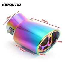 Vehemo Exhaust Pipe Tail Throat Tail Muffler Stainless Steel 1PC Durable Automobile Rear Round Silencers Accessories