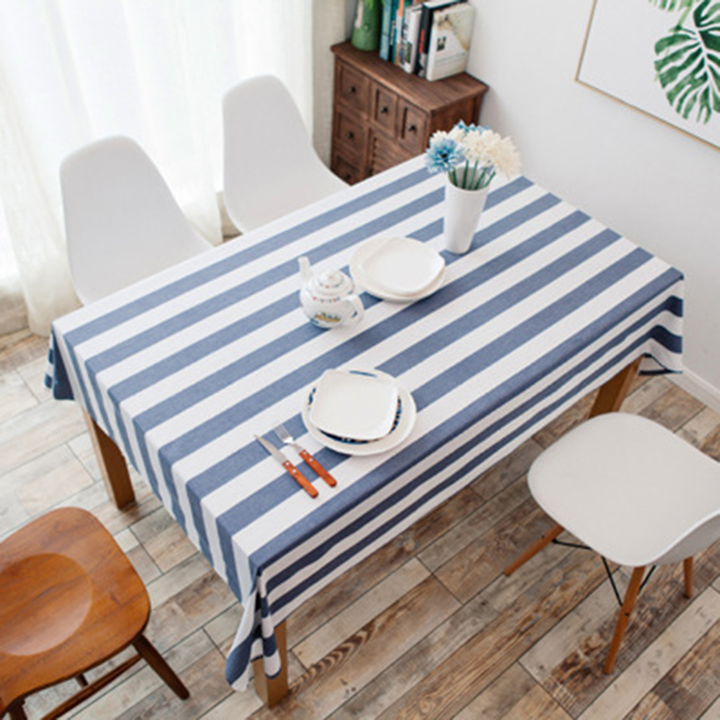 Simanfei Striped Table Cloth Korean Pastoral Coffee Cover Cotton and Linen Rectangular Modern Minimalist Tablecloth