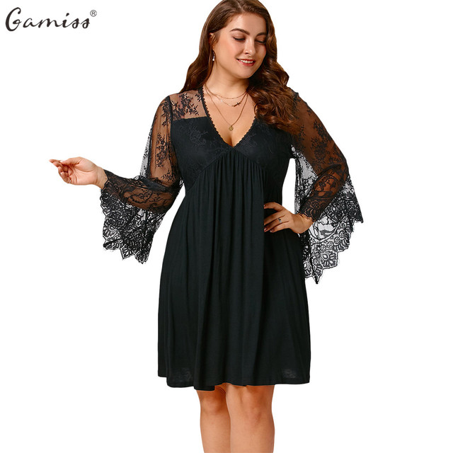 ebae48f2656 Gamiss Empire Waist Plus Size Tunic Women Lace Dress Long Flare Sleeves Sexy  V Neck Female Shirt Knee Length Dresses Vestidos